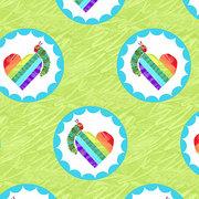 Very Hungry Caterpillar Rainbow Hearts on Green Fabric