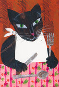 Eric Carle Postcard - Cat at Table
