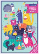 Cat Party Greeting Card + Puzzle