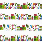 Happy Holidays Stripe Fabric