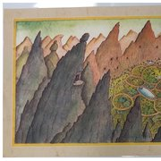 Peter Sis Print - Tibet Through the Red Box Landscape SIGNED