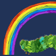 Very Hungry Caterpillar Rainbow Panel Fabric (Blue)