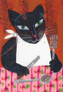 Eric Carle Postcard - Cat at Table