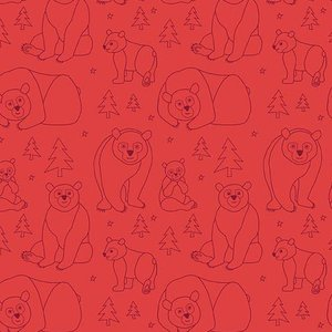 Bear Doodle Red Fabric