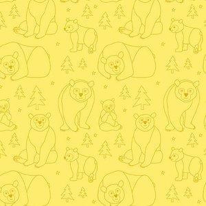 Bear Doodle Yellow Fabric