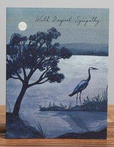 Blue Heron Sympathy Card