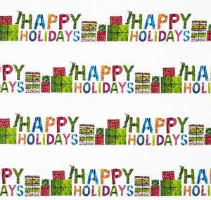 Happy Holidays Stripe Fabric