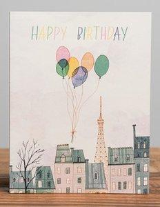 Paris Balloons Birthday Card