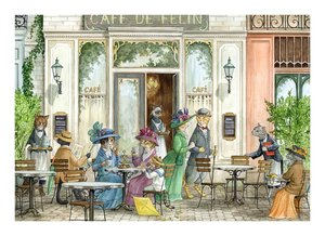 Astrid Sheckels Limited Edition Print - At the Feline Cafe