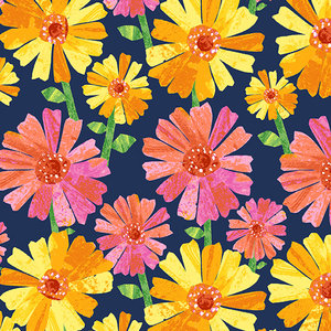 Fabric-Spring Flower Blue