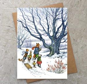 Through the Snow with Hector Fox Card