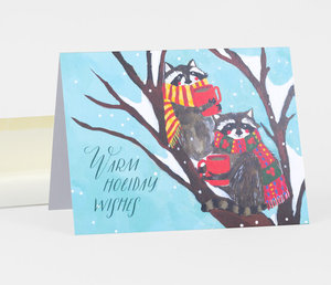 Card-Warm Holiday Wishes Raccoons