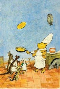 E.H. Shepard Postcard - Winnie the Pooh Pancakes