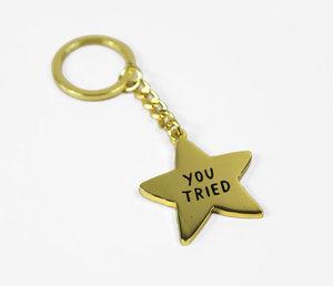 You Tried Gold Star Keychain