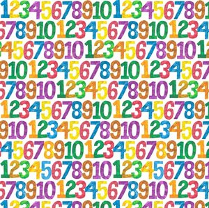 123 to the Zoo Numbers Fabric (White)