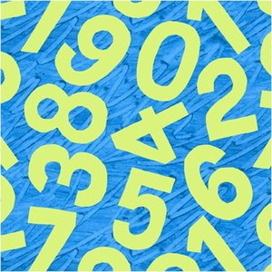 Birthday Blue Numbers Fabric