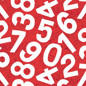 Red Numbers Fabric