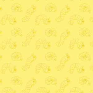 Very Hungry Caterpillar Wiggle Yellow Fabric