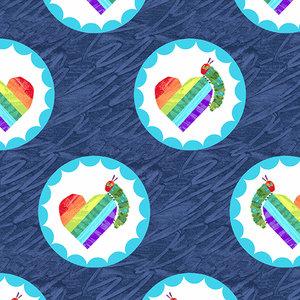 Very Hungry Caterpillar Rainbow Hearts on Dark Blue Fabric