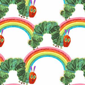 Very Hungry Caterpillar Rainbows on White Fabric