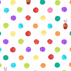 Very Hungry Caterpillar Dots White Fabric