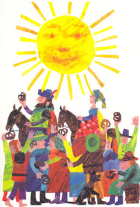 Eric Carle Postcard - Townspeople & Pretzels