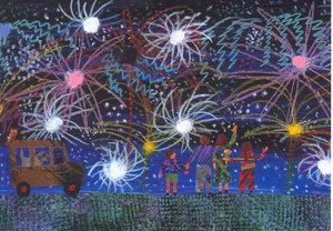 Eric Carle Postcard - Fireworks