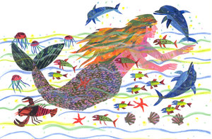Eric Carle Postcard - Mermaid
