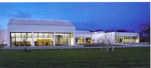 Carle Museum Postcard - Museum at Twilight