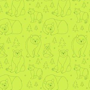 Bear Doodle Green Fabric