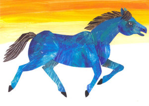 Blue Horse Running Postcard
