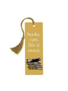 Books. Cats. Life is Sweet. Tassel Bookmark