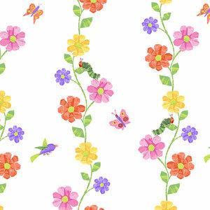 Fabric-VHC Flower Vines White