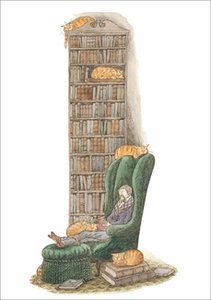 Edward Gorey Card - Bibliophile with Cats