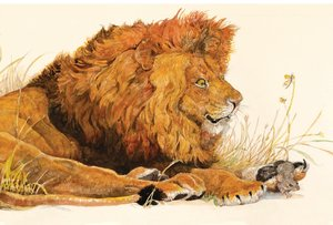 Postcard-Lion and the Mouse