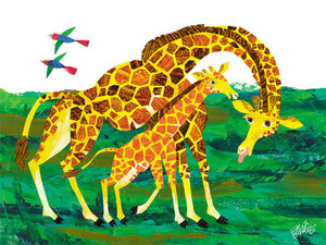 Giraffe Mother Canvas Wall Art