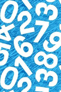 Blue Numbers Fabric