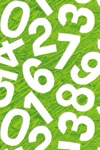 Green Numbers Fabric
