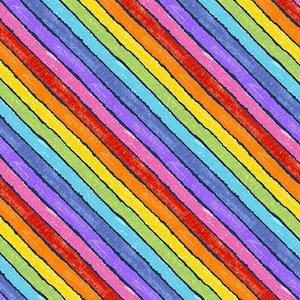 Fabric-Rainbow Stripe Black