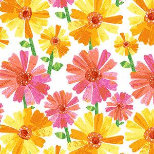 Fabric-Spring Flower White