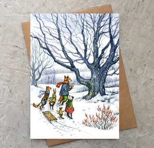 Through the Snow with Hector Fox Card
