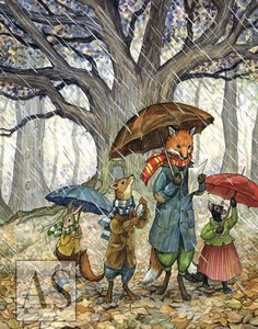 Rainy Day with Hector Fox Card